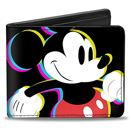 Buckle-Down Men's CMYK Walking Pose + Mickey Mouse, Multicolor, Standard Size (Mickey Mouse Hinge Wallets)