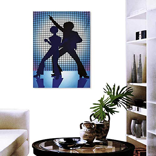 Fashion Stickers Wall Couple Silhouettes on The Dance Floor in Night Life Oldies Seventies Fun Stickers Wall Home 20