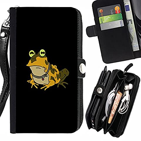 GOD CASE FOR HTC ONE M8 Funny Hypnotic Frog Toad Wallet Purse Pouch Holster Leater & Soft TPU (Htc One M8 Case Frog)