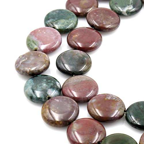 BRCbeads Gorgeous Natural Indian Agate Coin Gemstone Loose Beads 20mm Approxi 15.5 inch 20pcs 1 Strand per Bag for Jewelry Making