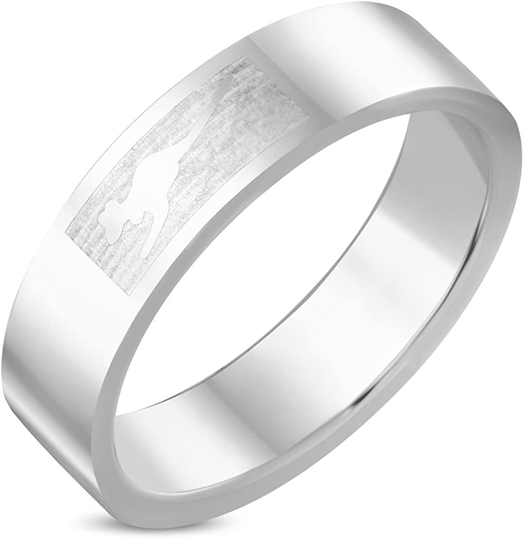 Stainless Steel Jumping Kangaroo Flat Band Ring