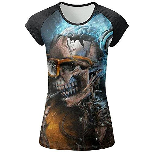 LOUIS Smoking Skull With Glasses And Earphone Short Sleeve Raglan Jersey T-Shirt Baseball Tops Women