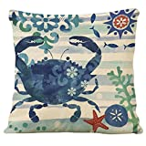Decorative Pillow Cover - Famibay Decorative Pillow Cover Ocean Park Theme Square Cotton Linen Throw Pillow Case Cushion Cover 18 x 18 (Crab)