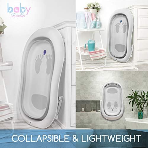 Baby Brielle 3-in-1 Portable Collapsible Infant to Toddler Space Saver Foldable Bath tubs - Anti Slip Skid Proof - with Cushion Insert & Water Rinser for Bathing Newborns by Baby Brielle (Image #5)