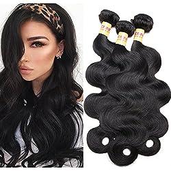 Connie Hair 3 Bundles Of Brazilian hair 14 16 18 inch Body Wave Unprocessed Hair Extensions Human Hair Bundles Natural Black #1B Color