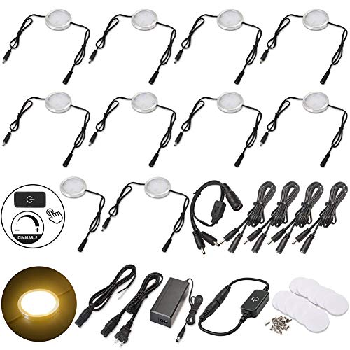 Under Cabinet Lighting Linkable LED Puck Lights, Dimmable Hardwired & Wall Plug in 120V 12V Strip Light for China Cabinets Curio Bar Counter Closet Furniture, 10 Lights, Warm White, Black Cable