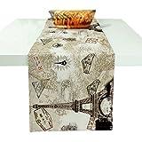 "KekeHouse® Cotton Linen Creative Table Runner for Living Room/Kitchen(Eiffel Tower 2,L(70.86"" x 11.81""))"