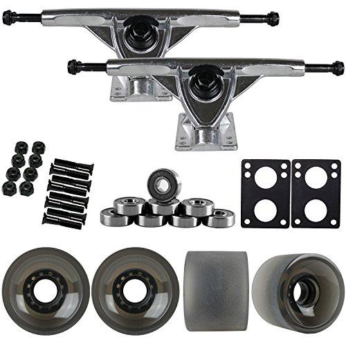 TGM Skateboards 180mm RAW Longboard Trucks + 70MM Black 82A Wheels + Bearings Package ()