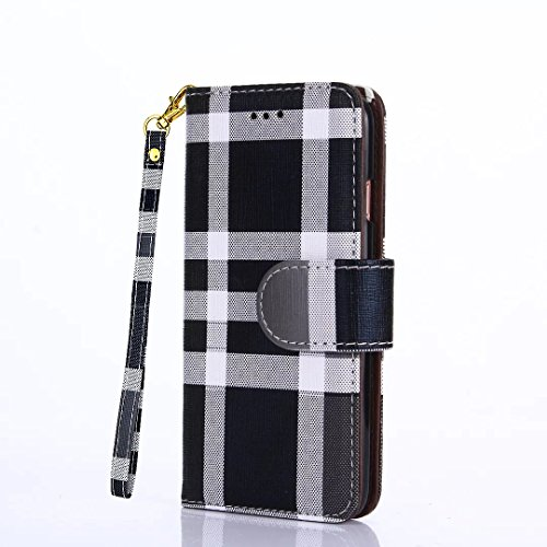 iPhone 7/iPhone 8 Wallet Case [Free Screen Protector] Leather Flip Wallet Luxury Wristlet Case Cover For iPhone 7/8 (Grid Black)