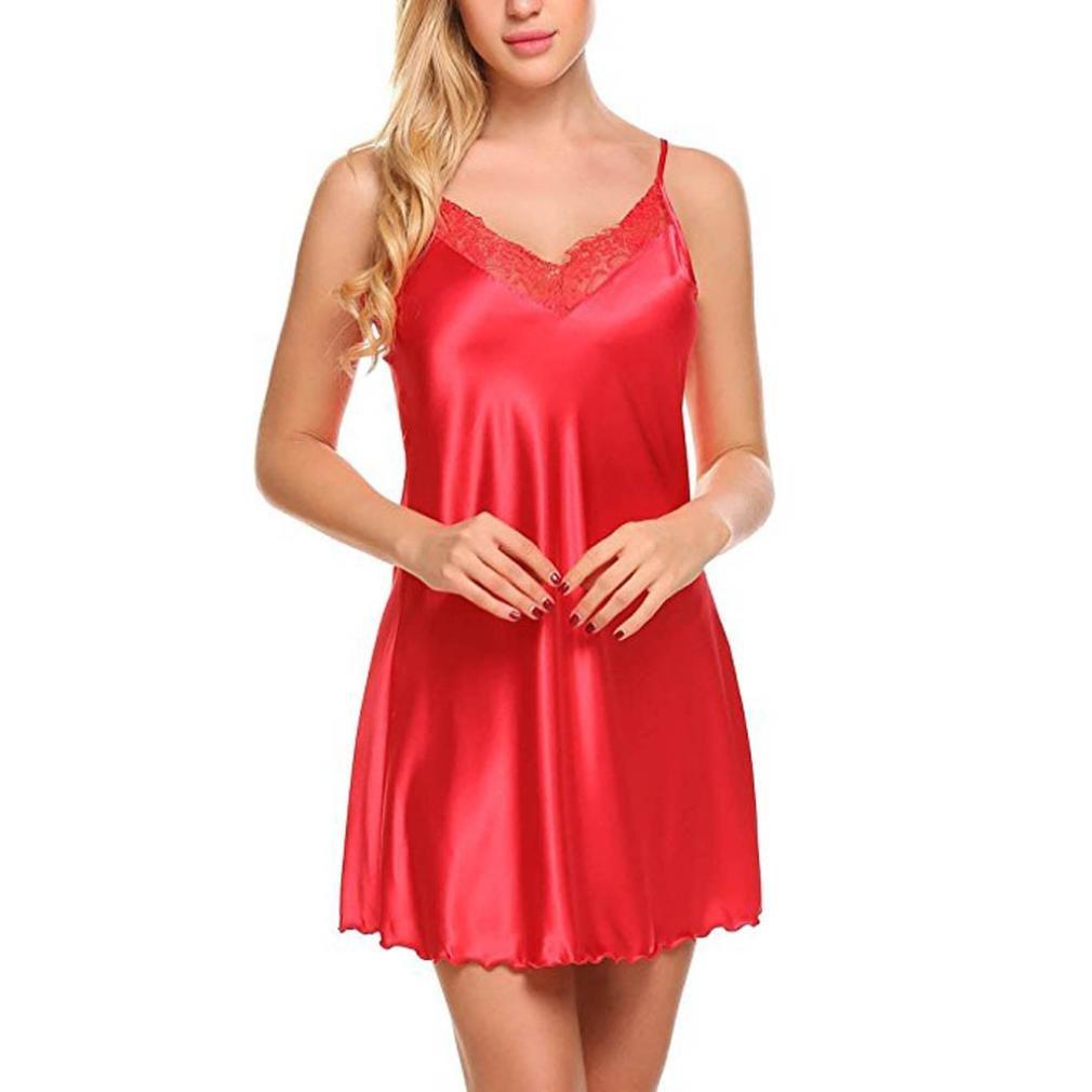 Goddessvan Women Lingerie V Neck Nightdress Satin Sleepwear Lace Chemise Mini Teddy