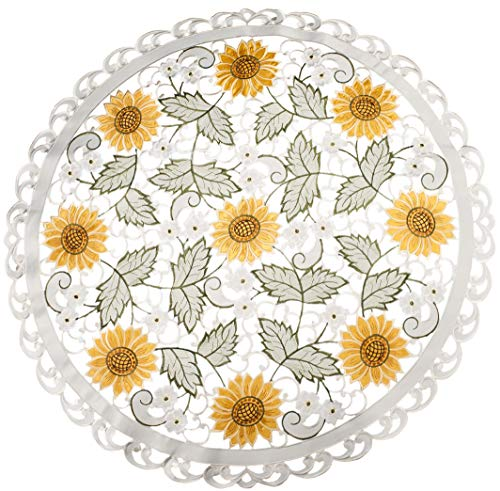 (Embroidered Table Topper Doily Table Centerpiece Small Tablecloth Open Weave Cut Work Sunflower and White Daisy on Ivory 33 Inch)