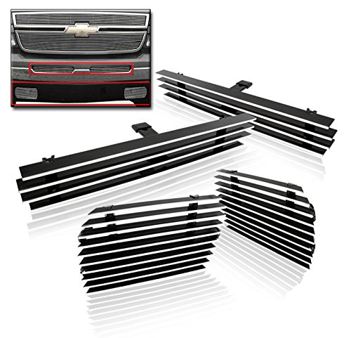 - ZMAUTOPARTS Chevy Silverado Front Air Dam + Tow Hook Bumper Billet Grille Combo