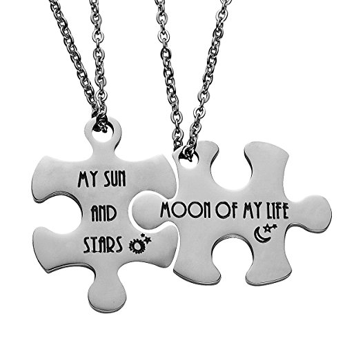 Haoflower 2 Set Couples Puzzle Pendant Tag Key Chain and Neckalce Stainless Steel Personalized Keychain Valentines Anniversary Gifts for Her Him (My Sun And Stars & Moon Of My Life - Necklace)