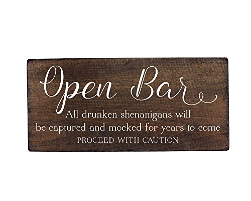 Elegant Signs Wedding Open Bar Sign Drunken Shenanigans for Party Decoration by Fun sign for your (Wedding Reception)