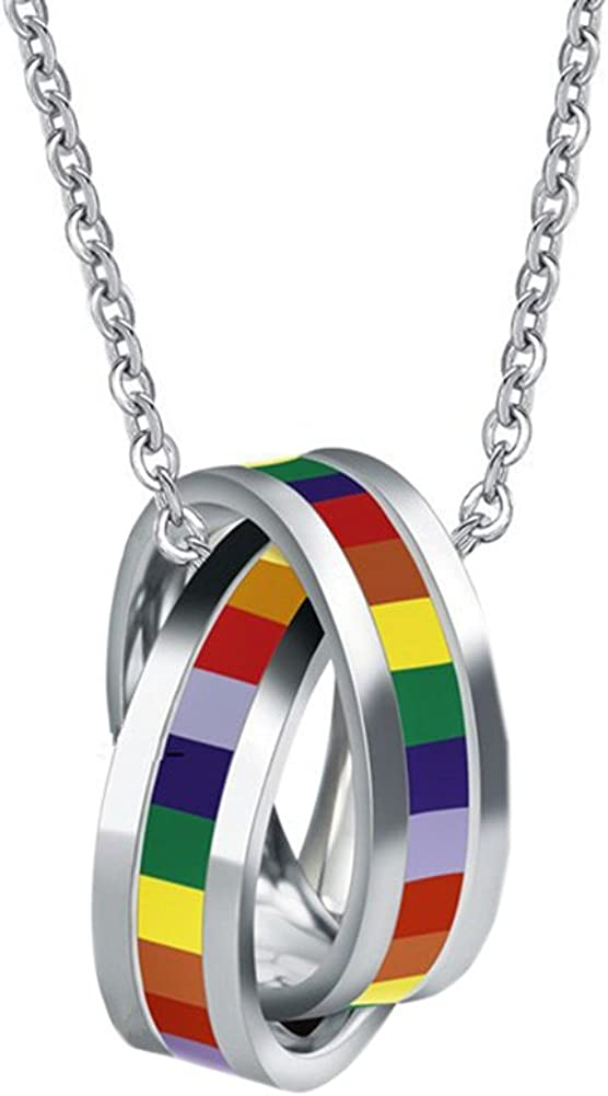 Oakky Stainless Steel Unisex LGBT Pride Gay Lesbian Flag Rainbow Double Cross Rings Pendant Necklace