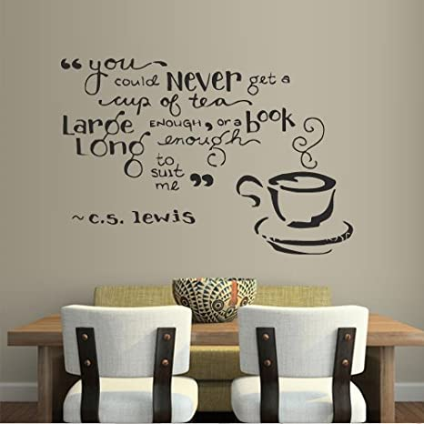 Wall Decal Decor Decals Sticker Cup Coffee Tea Cafe Restaurant Kitchen Inscription Quote Book (M323)