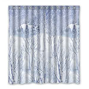 Custom The winter snow Shower Curtain Polyester 167cm x 183cm