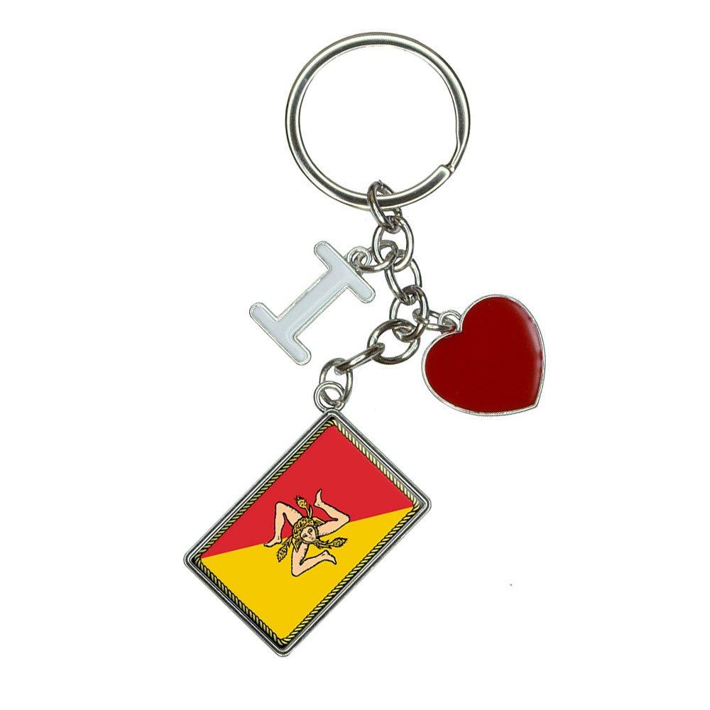 Amazon.com: Bandera de Sicilia I Heart Amor Llavero: Office ...