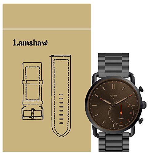 For Fossil Q Commuter Band, Lamshaw Stainless Steel Metal Replacement Straps for Fossil Hybrid Smartwatch - Q Commuter (black)