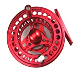 SUNDELY Red Color Diecast Aluminum Alloy 5/6 Fly Fishing Reel Left and Right Hand Retrieve - 85mm (3.34