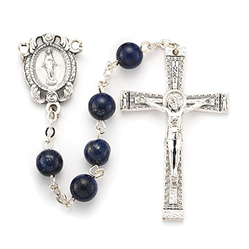 Center Lapis - 8mm Lapis Genuine Round Stone Bead Rosary with Deluxe Center and Crucifix. 23
