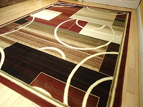 Contemporary Rug Multi Colored Area Rugs 8x11 Rug Red Rug Living Room  Carpet 8x10 Burgundy Modern Area Rugs (Large 8x11)