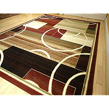 Contemporary Rug Multi-colored Area Rugs 8x11 Rug Red 5x8 Rug Living Room Carpet 8x10 Burgundy Modern Area Rugs (Large 8x11)