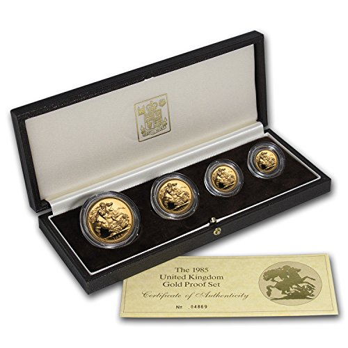 UK 1985 Great Britain 4-Coin Gold Sovereign Proof Set About Uncirculated