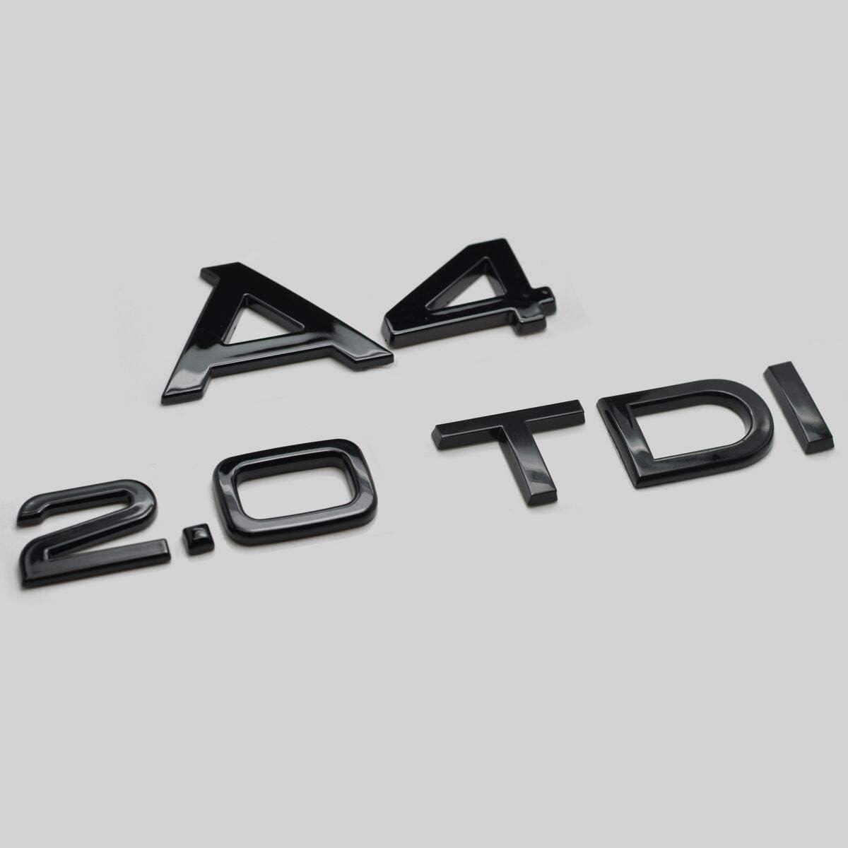 Schwarz Gl/änzend A4 2.0 TDI Zur/ück Boot Badge Emblem Buchstaben Zahlen Kompatibel F/ür A4 Modelle