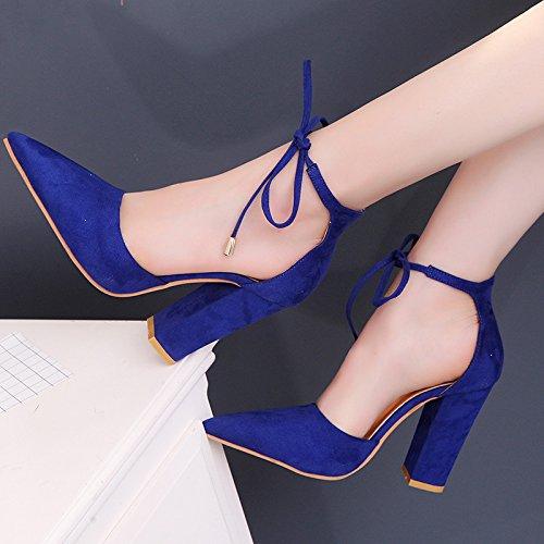 à Rétro pour Femmes Saphir Hauts Chaussures 39 Talons Style Chaussures Bleu xdPXtqtfw