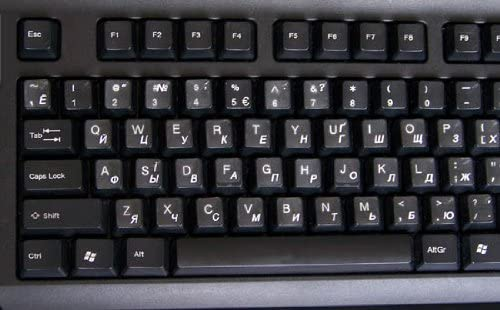 UKRAINIAN-RUSSIAN KEYBOARD STICKERS TRANSPARENT WHITE LETTERING FOR LAPTOPS PC ANY COMPUTER DESKTOP
