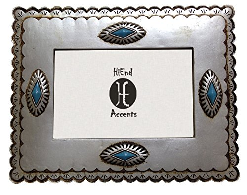 HiEnd Accents Western Silver Frame with Diamond-shaped Turquoise Conchos, 4 x 6