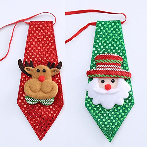 Artfen Christmas Children Tie Neckties for Christmas Holiday Party Decoration 2 Pack Santa Claus and Reindeer