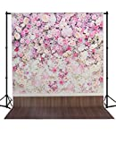 MEHOFOTO Photo Backdrop Studio Colorful Flower Wood Floor Birthday Party Photography Background Backdrop 5×7ft