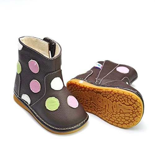 FREYCOO - Squeaky Leather Toddler Girls Shoes | Brown winter boots - Size:  26: Amazon.co.uk: Shoes & Bags