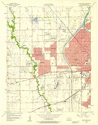 (Kansas Maps   1956 Wichita West, KS USGS Historical Topographic Map   Cartography Wall Art   35in x 44in)