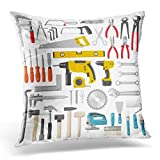 Throw Pillow Covers Hardware Construction Tool Color Screwdriver Drill Home Home Decor Office Cushion Case Square Size 20 x 20 Inches Pillowcase