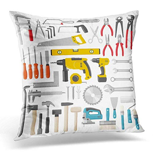 Throw Pillow Covers Hardware Construction Tool Color Screwdriver Drill Home Home Decor Office Cushion Case Square Size 20 x 20 Inches Pillowcase by iDecorDesign