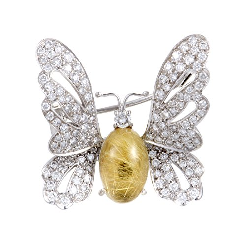 Chantecler 18K White Gold Diamond Rutilated Quartz Butterfly - Pin Butterfly Diamond