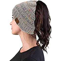 VANGAY Beanie Tail Women's Soft Trendy Stretch Cable Knit, Messy High Bun Ponytail Beanie Tail Cap Hat(Confetti Gray)