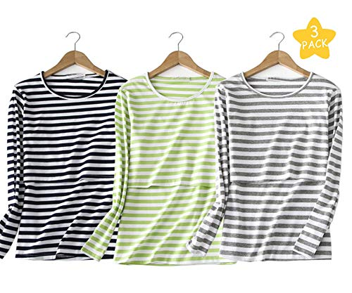 Epmami Womens Striped Nursing Tops/V- Neck Blouses Cute Breastfeeding Shirts/Tshirts