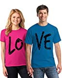 Pekatees Shirts For Couples Matching Couples Shirts Love Couple Shirts For Valentine's Day Couple Gifts Pink Blue Men Medium/Ladies Small