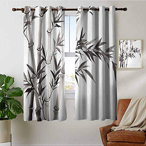 """petpany Curtains for Bedroom Bamboo,Traditional Bamboo Leaves Meaning Wisdom Growth Renewal Unleash Your Power Artprint,Grey White Curtain Panels for Bedroom & Kitchen,1 Pair 42""""x72"""""""