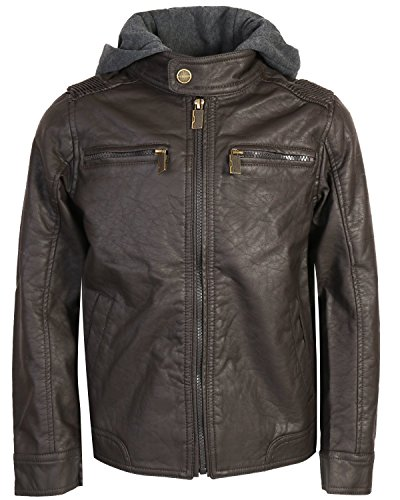 Urban Republic Boys Faux Leather Jacket With Fleece Hoodie, Dark Brown w/Grey Hood, 18/20' from Urban Republic