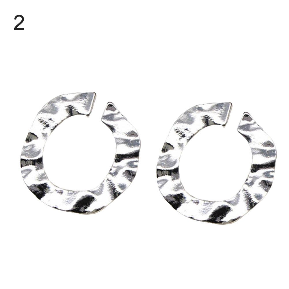 Women Fashion Punk Irregular Twisted Round Circle Hoop Earrings Jewelry Gift - Golden