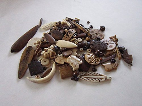 (1/2 LB Assortment Buffalo Bone Beads mixed Jewelry Crafts Tribal Grab Bag)