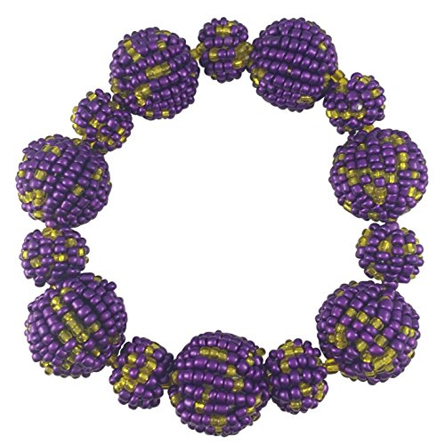 - Gypsy Jewels Seed Bead Balls Beads Handmade Fun Random Stretch Bracelet (Purple & Yellow)
