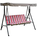 Kozyard Alicia Patio Swing Chair with 3 Comfortable Cushion Seats and Strong Weather Resistant Powder Coated Steel Frame (Red Stripe) Review