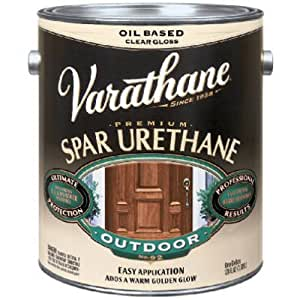 Rust Oleum 242182 Varathane Gallon Clear Satin Exterior Oil Based Premium Spar Urethane Finish