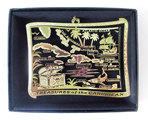 Caribbean Islands Brass Christmas Ornament Black Leatherette Gift Box (Caribbean Ornaments Christmas)